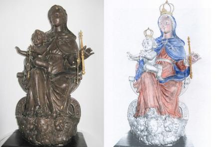 statua lignea seicentesca - conservata presso il monastero delle clarisse cappuccine di genova
